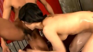 Horny Asian slut penetrated by two dicks